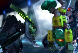 LoMN Matoran Kongu with Nidhiki and Krekka.PNG